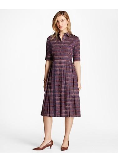 Brooks Brothers Brooks Brothers 1-00087066 Gömlek Yaka Yarım Kol Geometrik Desenli  Kadın Elbise Mavi